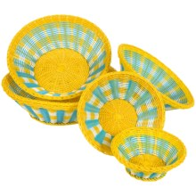 Two's Company Mad for Plaid Baskets - Set of 5 in Yellow/White/Blue - Closeouts