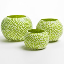 Twos Company Mosaic Glass Candle Holders - Set of 3 in Green Round - Closeouts