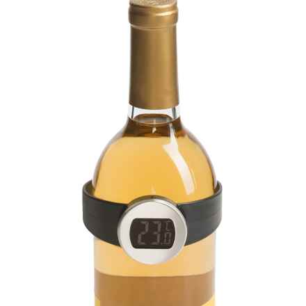 Two's Company Wine Bottle Thermometer in Black / Silver - Closeouts
