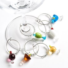 Two's Company Wine Charms - Glass, Set of 6 in Cocktail - Closeouts