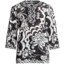 Tyler Boe Border Tunic Shirt - Cotton-Silk, 3/4 Sleeve (For Women) in Black/White - Closeouts