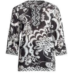 Tyler Boe Border Tunic Shirt - Cotton-Silk, 3/4 Sleeve (For Women) in Black/White