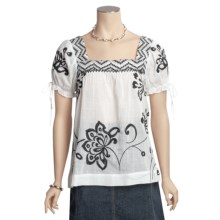 Tyler Boe Embroidered Gauze Shirt - Square Neck, Short Sleeve (For Women) in White - Closeouts