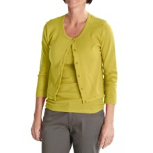 Tyler Boe Pima Cotton Cardigan Sweater - Button Front, 3/4 Sleeve (For Women) in Sweet Pea - Closeouts