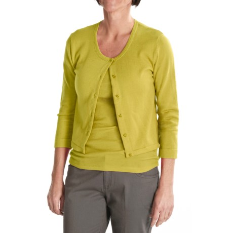 Tyler Boe Pima Cotton Cardigan Sweater - Button Front, 3/4 Sleeve (For Women) in Sweet Pea