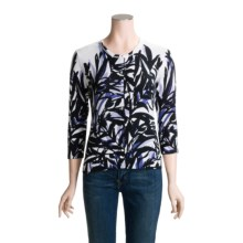 Tyler Boe Print Cardigan Sweater - Cotton-Silk, 3/4 Sleeve (For Women) in Zen Again - Closeouts