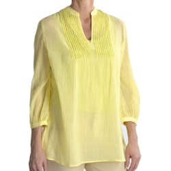 Tyler Boe Sequined Cotton Shirt - 3/4 Sleeve (For Women) in Sweet Pea