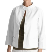 Tyler Boe Twill Mandarin Jacket - Stretch Cotton, 3/4 Sleeve (For Women) in White - Closeouts