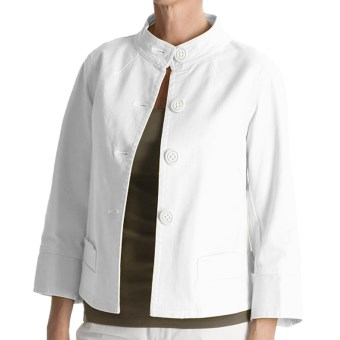 Tyler Boe Twill Mandarin Jacket - Stretch Cotton, 3/4 Sleeve (For Women) in White