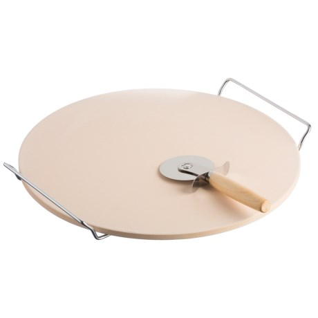 """Typhoon 13"""" Pizza Stone with Rack and Cutter in See Photo"""