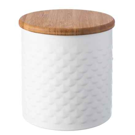 Typhoon Imprima Scalloped Storage Tin - 47 oz., Stainless Steel in White Scallop - Closeouts