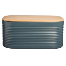 Typhoon Ripple Steel Bread Box - Beechwood Lid in Slate - Closeouts