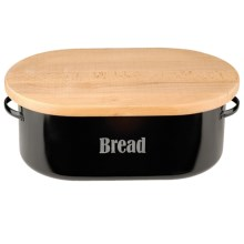 Typhoon Vintage Bread Storage Bin with Cutting Board Lid - Steel in Black - Closeouts