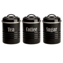 Typhoon Vintage Metal Canisters - Set of 3 in Black - Overstock