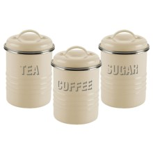 Typhoon Vintage Metal Canisters - Set of 3 in Cream - Overstock