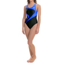 TYR Alliance T-Splice Maxfit Swimsuit - UPF 50+ (For Women) in Black/Bright Blue - Closeouts