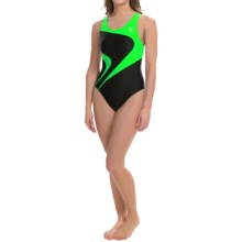 TYR Alliance T-Splice Maxfit Swimsuit - UPF 50+ (For Women) in Black/Bright Green - Closeouts