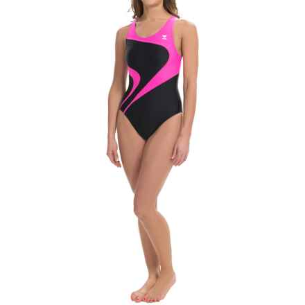 TYR Alliance T-Splice Maxfit Swimsuit - UPF 50+ (For Women) in Black/Pink - Closeouts