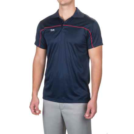 TYR Alliance Tech Rash Guard - Short Sleeve (For Men) in Navy/Red - Closeouts