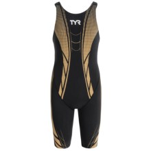 TYR AP12 Credere Compression High-Back Speed Swimsuit - Racerback (For Women) in Black/Gold - Closeouts