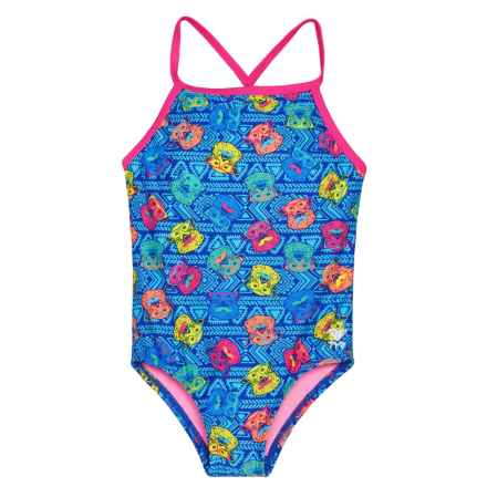 TYR Bear Dog Diamondfit One-Piece Swimsuit - UPF 50+ (For Girls) in Blue - Closeouts