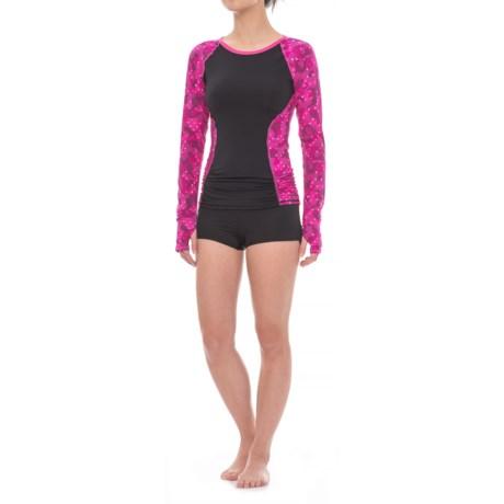 TYR Cadet Aria Swim Shirt - UPF 50+, Long Sleeve (For Women) in Black/Pink Dot