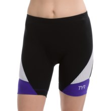 """TYR Carbon Tri Shorts - UPF 50, 6"""" (For Women) in Black/Purple - Closeouts"""
