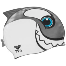 TYR Charactyr Happy Whale Swim Cap (For Little and Big Kids) in Black/White - Closeouts
