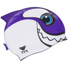 TYR Charactyr Happy Whale Swim Cap (For Little and Big Kids) in Purple - Closeouts