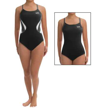 TYR Competitor Swimsuit - UPF 50+, Reversible, Thin Strap (For Women) in Black/Grey - Closeouts
