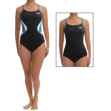 TYR Competitor Swimsuit - UPF 50+, Reversible, Thin Strap (For Women) in Black/Light Blue - Closeouts
