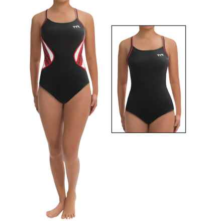TYR Competitor Swimsuit - UPF 50+, Reversible, Thin Strap (For Women) in Black/Red - Closeouts