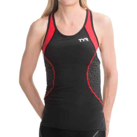 TYR Competitor Tank Top - UPF 50+, Built-In Bra (For Women) in Black/Red - Closeouts