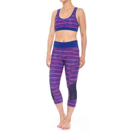 TYR Cross Back Bikini and Capris Swimsuit - UPF 50+, Removable Padded Cups (For Women) in Purple Multi - Closeouts