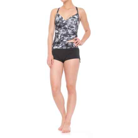 TYR Cross Back Tankini Set - UPF 50+ (For Women) in Black/Grey - Closeouts