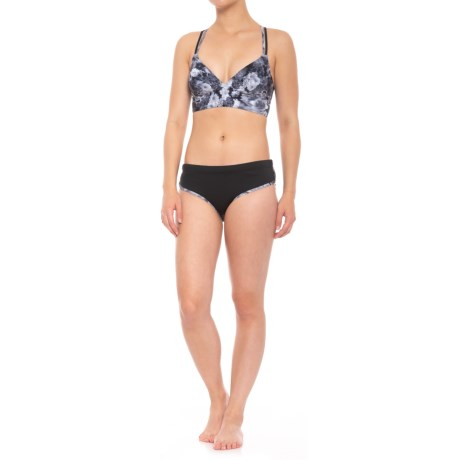TYR Crossback Bikini Set - UPF 50+, Removable Padded Cups (For Women) in Black/Grey