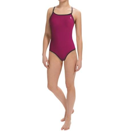 TYR Diamondfit Swimsuit - Reversible (For Women) in Black/Cabernet