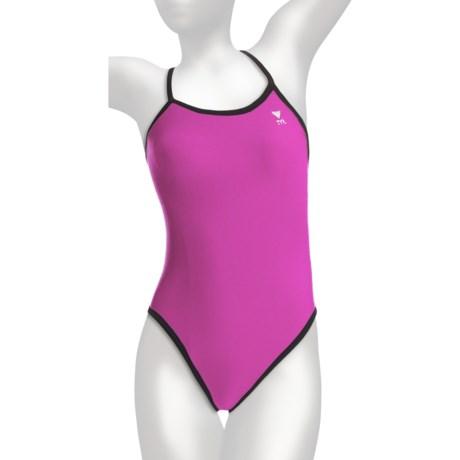 TYR Diamondfit Swimsuit - Reversible (For Women) in Black/ Euphoria