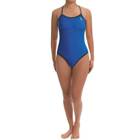 TYR Diamondfit Swimsuit - Reversible (For Women) in Blue/Black