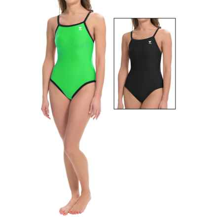 TYR Diamondfit Swimsuit - Reversible, UPF 50+ (For Women) in Black/Bright Green - Closeouts