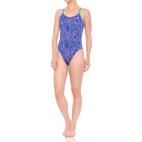 TYR Electro Cutoutfit Swimsuit - UPF 50+ (For Women) in Navy/Multi