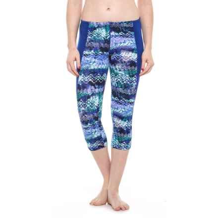 TYR Emerald Lake Flex Splice Capri Leggings - UPF 50+ (For Women) in Velvet/Turquoise - Closeouts