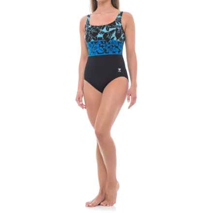 TYR Floral One-Piece Swimsuit - UPF 50+, Molded Cups (For Women) in Black/Blue - Closeouts