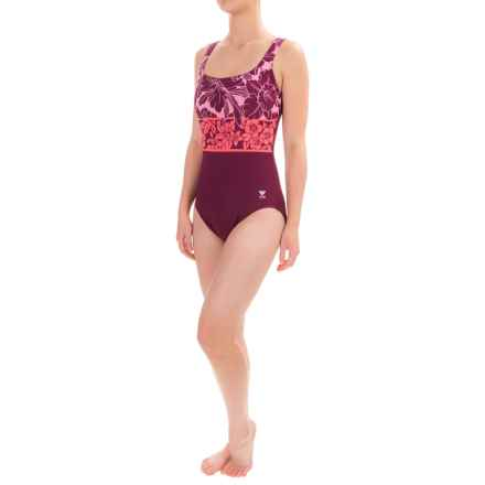 TYR Floral One-Piece Swimsuit - UPF 50+, Molded Cups (For Women) in Burgandy/Pink - Closeouts