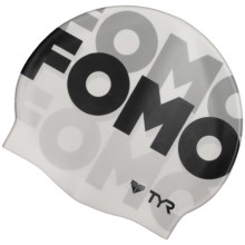 TYR FOMO Swim Cap (For Men and Women) in White/Black - Closeouts