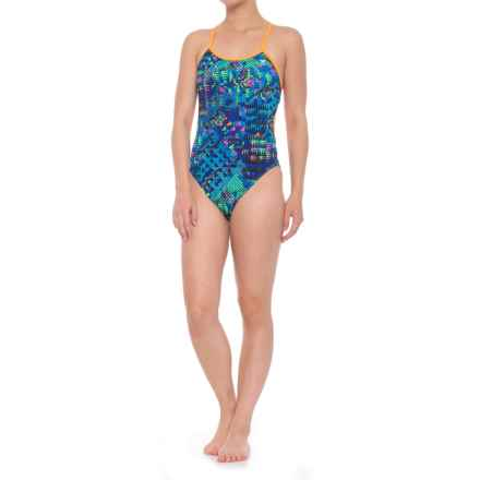 TYR Machu CrossCutfit Tie Back Swimsuit - UPF 50+ (For Women) in Blue/Multi - Closeouts