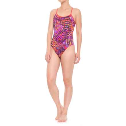 TYR Machu CrossCutfit Tie Back Swimsuit - UPF 50+ (For Women) in Purple/Multi - Closeouts