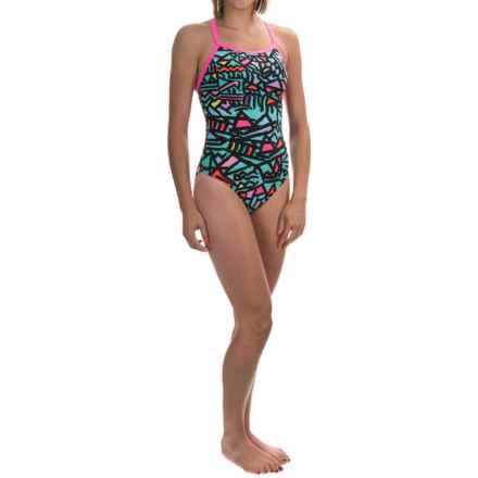 TYR Magura Diamondfit Swimsuit - UPF 50+ (For Women) in Turquoise/Multi - Closeouts