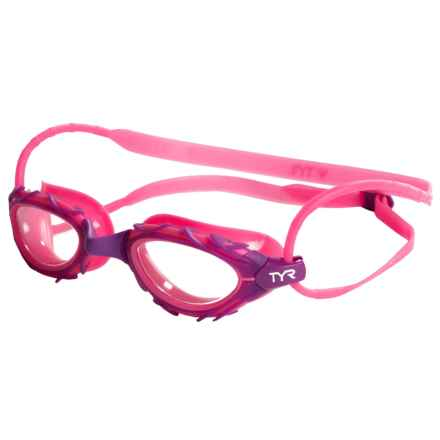 TYR Mirrored Goggles - Silicone Straps (For Men and Women) in Pink/Purple - Closeouts