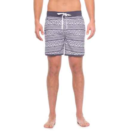 TYR Native Stripe Boardshorts - UPF 50, Built-In Briefs (For Men) in White/Navy - Closeouts